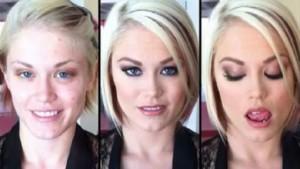 Pornosterren met en zonder make-up